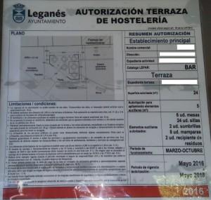 DOCUMENTACION LICENCIA TERRAZAS PARA BARES EN LEGANES